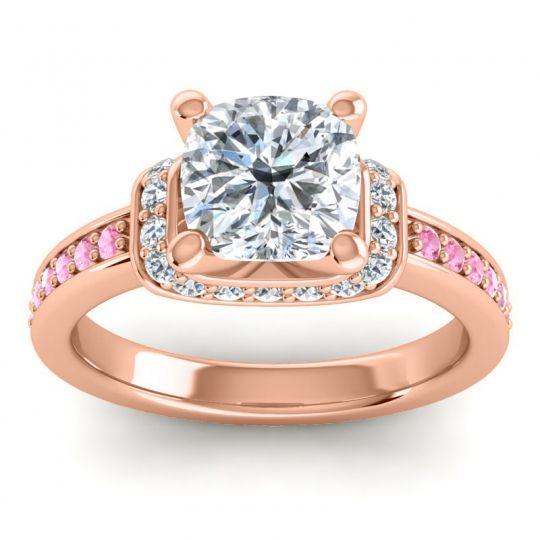 Halo Cushion Aksika Diamond Ring with Pink Tourmaline in 14K Rose Gold