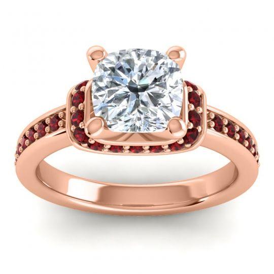 Halo Cushion Aksika Diamond Ring with Garnet in 18K Rose Gold