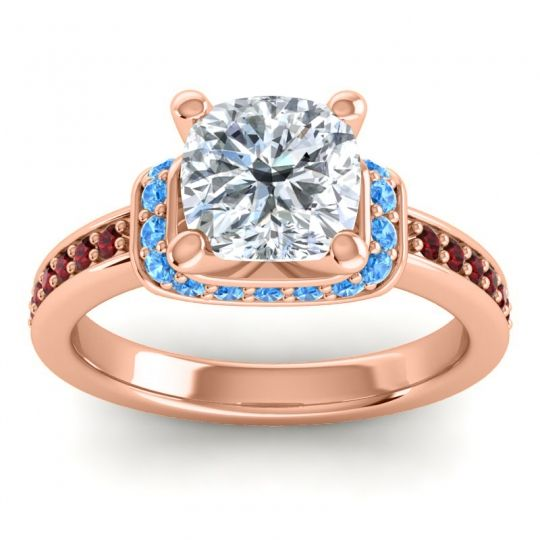 Halo Cushion Aksika Diamond Ring with Swiss Blue Topaz and Garnet in 18K Rose Gold