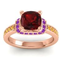 Halo Cushion Aksika Garnet Ring with Amethyst and Citrine in 18K Rose Gold