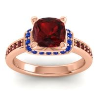 Halo Cushion Aksika Garnet Ring with Blue Sapphire in 14K Rose Gold