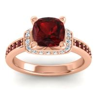 Halo Cushion Aksika Garnet Ring with Diamond in 18K Rose Gold