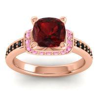 Halo Cushion Aksika Garnet Ring with Pink Tourmaline and Black Onyx in 14K Rose Gold