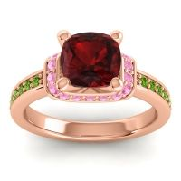 Halo Cushion Aksika Garnet Ring with Pink Tourmaline and Peridot in 14K Rose Gold