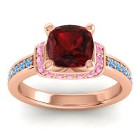 Halo Cushion Aksika Garnet Ring with Pink Tourmaline and Swiss Blue Topaz in 14K Rose Gold