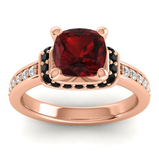 Halo Cushion Aksika Garnet Ring with Black Onyx and Diamond in 14K Rose Gold