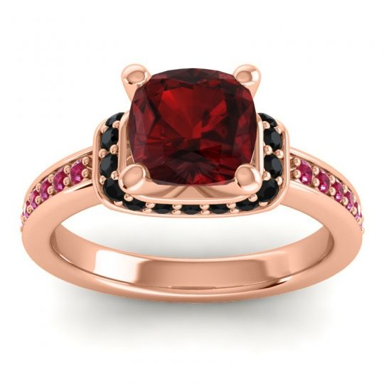 Halo Cushion Aksika Garnet Ring with Black Onyx and Ruby in 14K Rose Gold