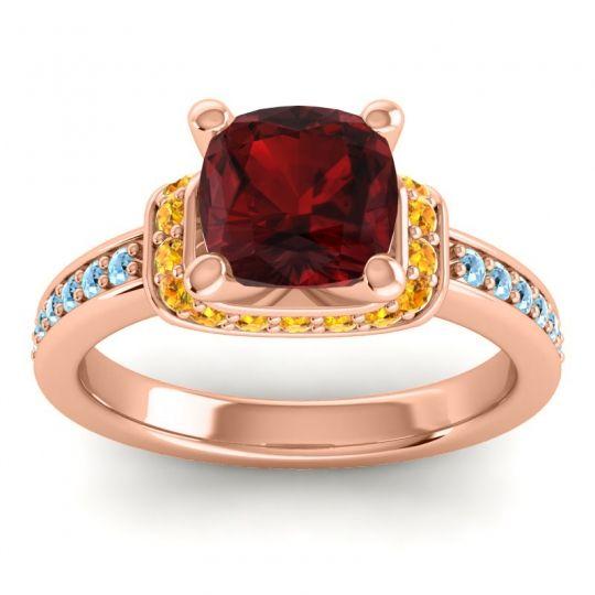 Halo Cushion Aksika Garnet Ring with Citrine and Aquamarine in 14K Rose Gold