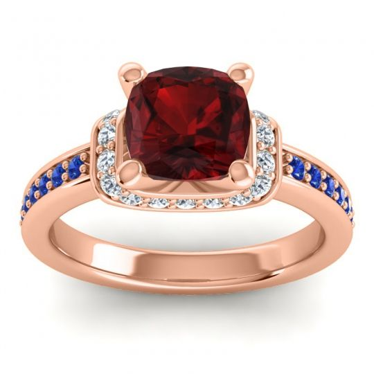 Halo Cushion Aksika Garnet Ring with Diamond and Blue Sapphire in 14K Rose Gold