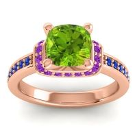 Halo Cushion Aksika Peridot Ring with Amethyst and Blue Sapphire in 14K Rose Gold