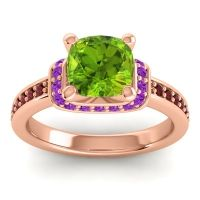 Halo Cushion Aksika Peridot Ring with Amethyst and Garnet in 18K Rose Gold