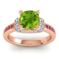Halo Cushion Aksika Peridot Ring with Aquamarine and Ruby in 18K Rose Gold