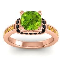 Halo Cushion Aksika Peridot Ring with Black Onyx and Citrine in 14K Rose Gold