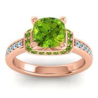 Halo Cushion Aksika Peridot Ring with Aquamarine in 14K Rose Gold