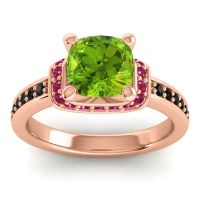 Halo Cushion Aksika Peridot Ring with Ruby and Black Onyx in 18K Rose Gold