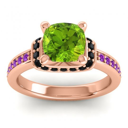 Halo Cushion Aksika Peridot Ring with Black Onyx and Amethyst in 18K Rose Gold