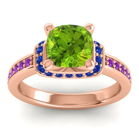 Halo Cushion Aksika Peridot Ring with Blue Sapphire and Amethyst in 18K Rose Gold