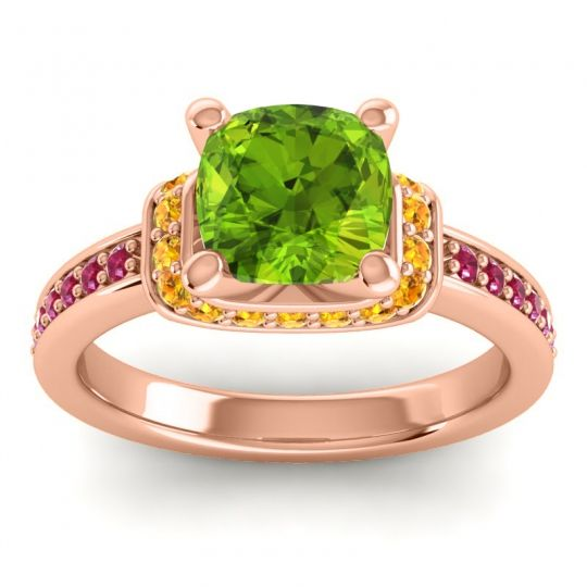 Halo Cushion Aksika Peridot Ring with Citrine and Ruby in 14K Rose Gold