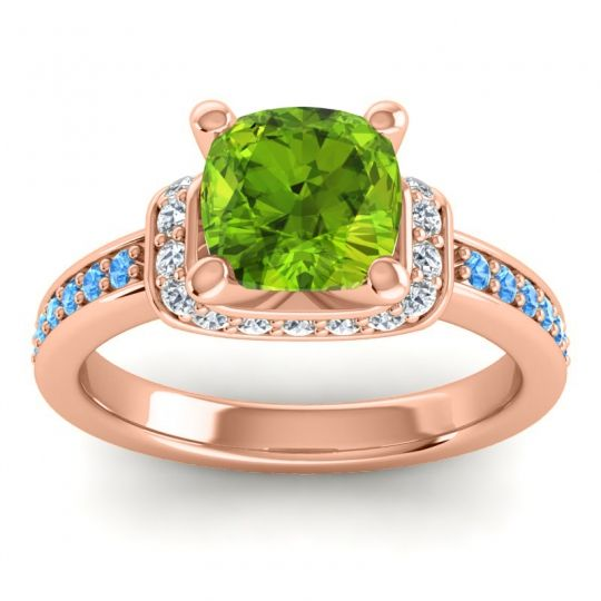 Halo Cushion Aksika Peridot Ring with Diamond and Swiss Blue Topaz in 14K Rose Gold