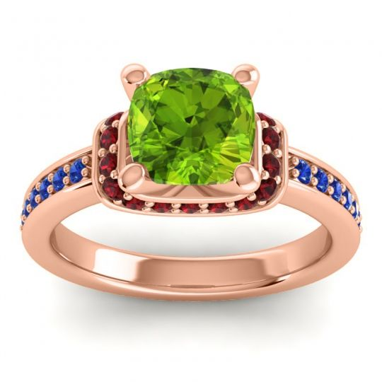 Halo Cushion Aksika Peridot Ring with Garnet and Blue Sapphire in 18K Rose Gold