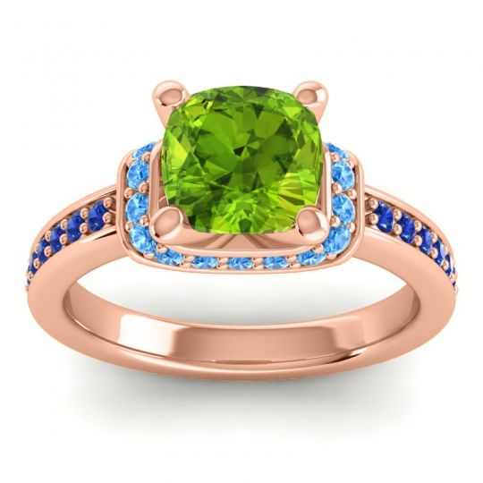 Halo Cushion Aksika Peridot Ring with Swiss Blue Topaz and Blue Sapphire in 18K Rose Gold