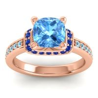 Halo Cushion Aksika Swiss Blue Topaz Ring with Blue Sapphire and Aquamarine in 18K Rose Gold