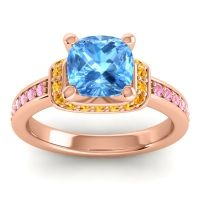 Halo Cushion Aksika Swiss Blue Topaz Ring with Citrine and Pink Tourmaline in 14K Rose Gold