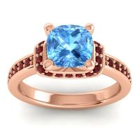 Halo Cushion Aksika Swiss Blue Topaz Ring with Garnet in 14K Rose Gold
