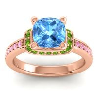 Halo Cushion Aksika Swiss Blue Topaz Ring with Peridot and Pink Tourmaline in 14K Rose Gold