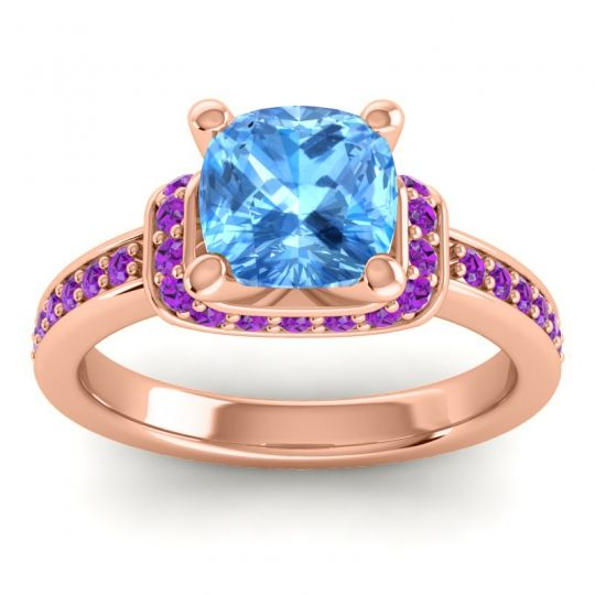 Halo Cushion Aksika Swiss Blue Topaz Ring with Amethyst in 14K Rose Gold