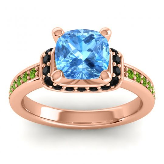 Halo Cushion Aksika Swiss Blue Topaz Ring with Black Onyx and Peridot in 14K Rose Gold