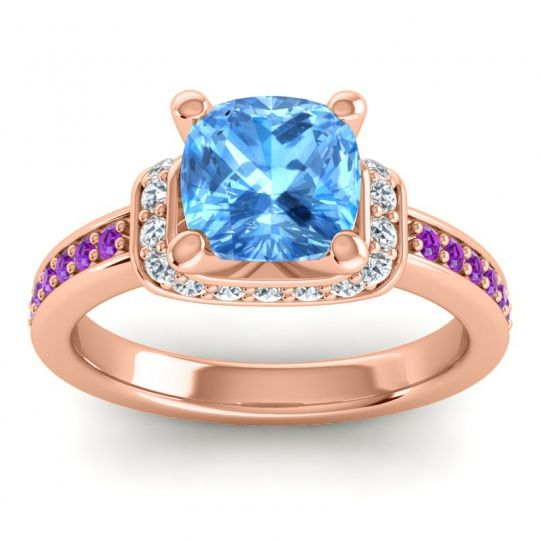 Halo Cushion Aksika Swiss Blue Topaz Ring with Diamond and Amethyst in 14K Rose Gold