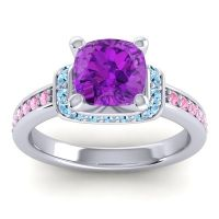 Halo Cushion Aksika Amethyst Ring with Aquamarine and Pink Tourmaline in 18k White Gold