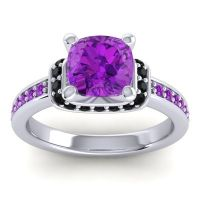 Halo Cushion Aksika Amethyst Ring with Black Onyx in 14k White Gold