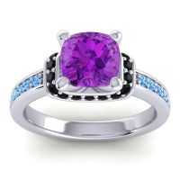 Halo Cushion Aksika Amethyst Ring with Black Onyx and Swiss Blue Topaz in 14k White Gold