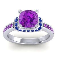 Halo Cushion Aksika Amethyst Ring with Blue Sapphire in 18k White Gold