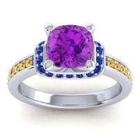 Halo Cushion Aksika Amethyst Ring with Blue Sapphire and Citrine in 14k White Gold