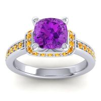 Halo Cushion Aksika Amethyst Ring with Citrine in 14k White Gold