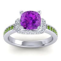 Halo Cushion Aksika Amethyst Ring with Diamond and Peridot in 18k White Gold
