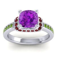 Halo Cushion Aksika Amethyst Ring with Garnet and Peridot in 18k White Gold