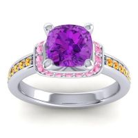 Halo Cushion Aksika Amethyst Ring with Pink Tourmaline and Citrine in 14k White Gold