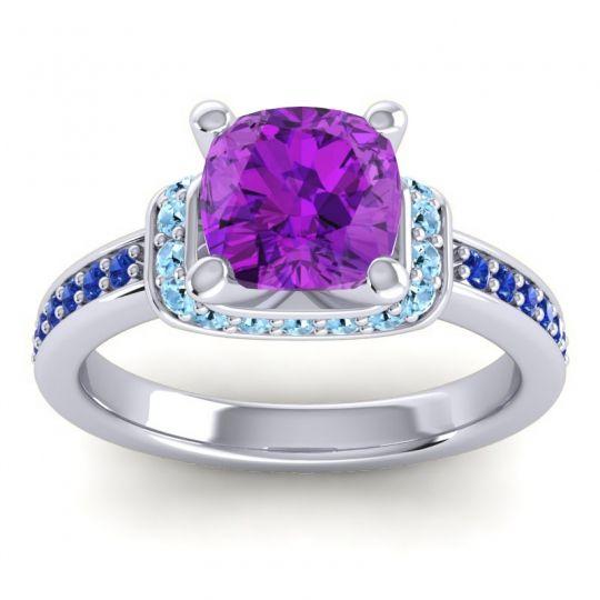 Halo Cushion Aksika Amethyst Ring with Aquamarine and Blue Sapphire in Palladium