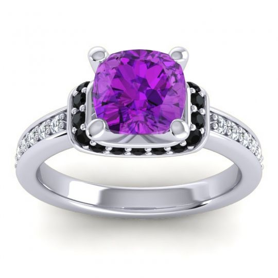Halo Cushion Aksika Amethyst Ring with Black Onyx and Diamond in 14k White Gold