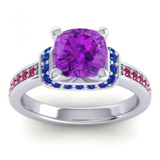 Halo Cushion Aksika Amethyst Ring with Blue Sapphire and Ruby in 14k White Gold