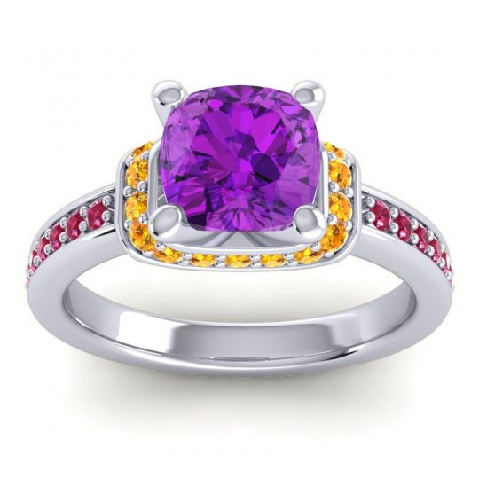 Halo Cushion Aksika Amethyst Ring with Citrine and Ruby in 14k White Gold