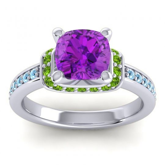 Halo Cushion Aksika Amethyst Ring with Peridot and Aquamarine in 18k White Gold
