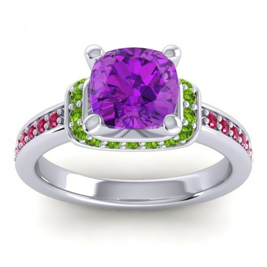 Halo Cushion Aksika Amethyst Ring with Peridot and Ruby in Palladium