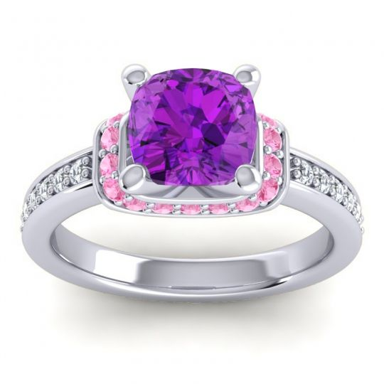 Halo Cushion Aksika Amethyst Ring with Pink Tourmaline and Diamond in Platinum