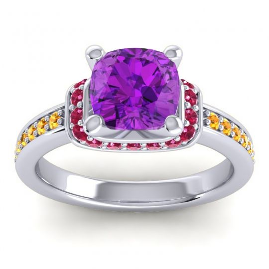 Halo Cushion Aksika Amethyst Ring with Ruby and Citrine in Platinum