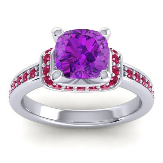 Halo Cushion Aksika Amethyst Ring with Ruby in 18k White Gold